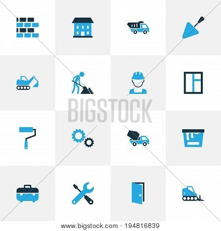 Construction Colorful Icons Set. Collection Of Maintenance, Digger, Putty Knife And Other Elements. Also Includes Symbols Such As Cement, Truck, Instruments.
