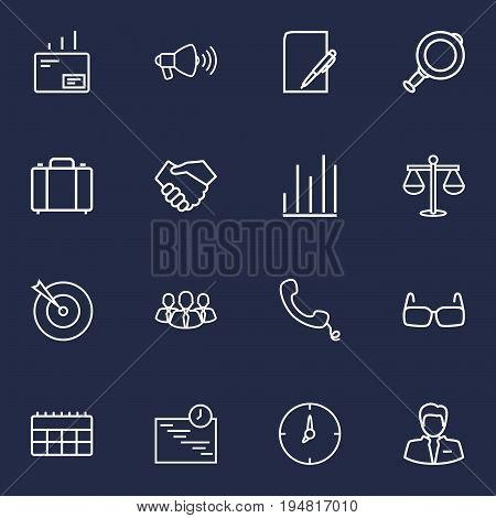 Set Of 16 Trade Outline Icons Set.Collection Of Mail, Loudspeaker, Handshake Elements.