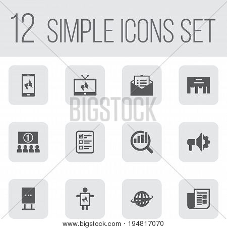 Set Of 12 Trade Icons Set.Collection Of Billboard, Loudspeaker, Man With Banner And Other Elements.