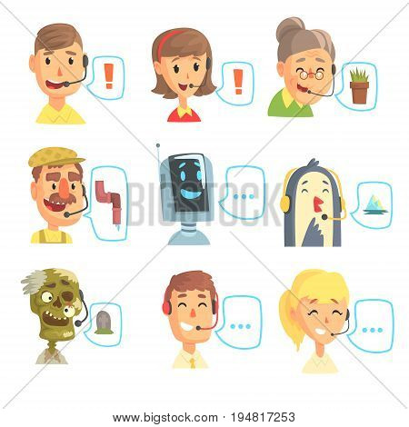 Set of funny call centre operators with headset, customer support service colorful vector illustrations isolated on a light blue background