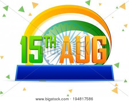 3D Text 15th Aug with Tricolour Waves and Ashoka Wheel, Creative background for Indian Independence Day celebration.