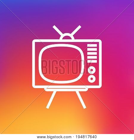 Isolated Television Outline Symbol On Clean Background. Vector Tv Set  Element In Trendy Style.