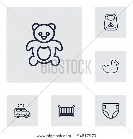 Set Of 6 Kid Outline Icons Set.Collection Of Crib, Bib, Teddy And Other Elements.
