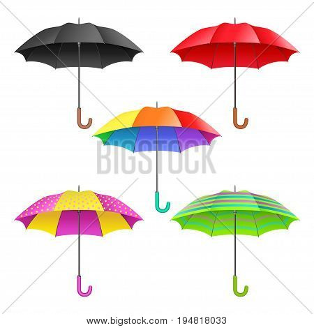 Set of colored realistic open umbrellas. Umbrellas collection isolated on white background. Vector illustration