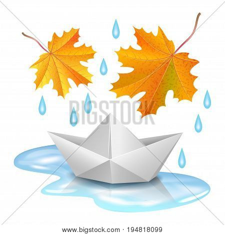 Paper boat in puddle raindrops and falling orange maple leaves. Origami ship. Childhood autumn and rain concept. Realistic vector illustration