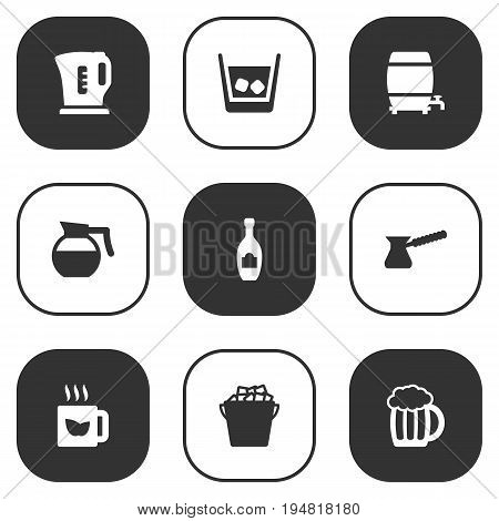 Set Of 9 Drinks Icons Set.Collection Of Electric Teapot, Cask, Turkish Coffee And Other Elements.