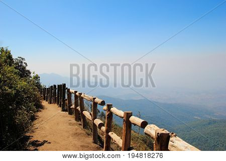 Travel To Doi Inthanon National Park, Chiang Mai, Thailand. The Scenic View With A Trail, The Wooden
