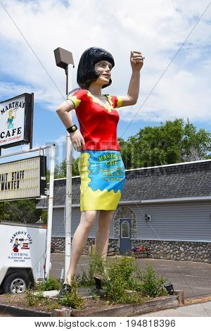 BLACKFOOT, IDAHO, JUNE 28, 2017: Giant Waitress at Marthas Cafe. The large statue has been greeting diners for decades.