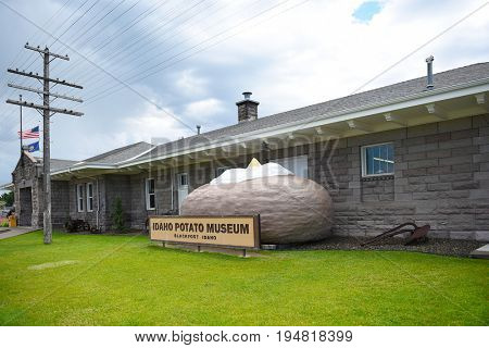 BLACKFOOT, IDAHO, JUNE 28, 2017: Giant Baked Potato at the Idaho Potato Museum. The museum is housed in the historic Oregon Short Line Railroad Depot.