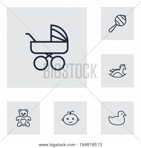 Set Of 6 Child Outline Icons Set.Collection Of Boy, Rattles, Rubber And Other Elements.