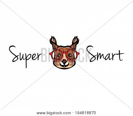 Portrait of Squirrel with nerd glasses. Vector illustration isolated on white background