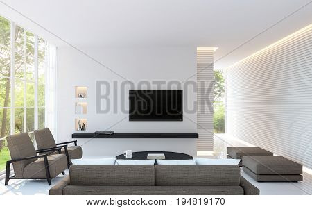 Modern white living room decorate wall with line pattern and hidden warm light 3d rendering image. White living room with large window Surrounded by gardens furnished with brown fabric furniture.