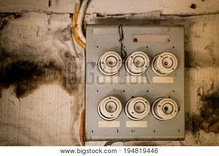 Old fuse box in an old abandoned house