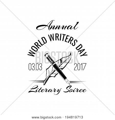 World writer's day badge. Vector illustration isolated on white background