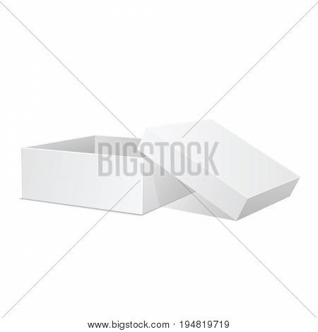 White box. Square box vector illustration. Open present. Cardboard packaging in side view with cap. Realistic 3d isometric template package and container. Vector isolated mockup.