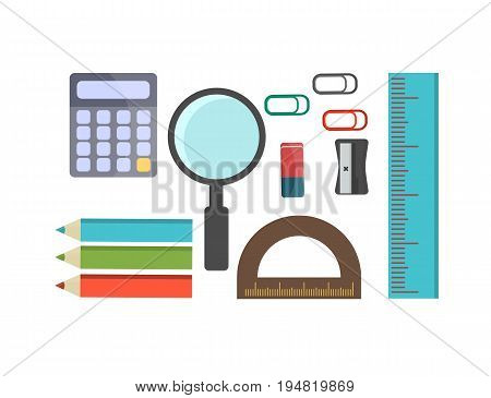 Vector illustration of Back to School supplies. School learning equipment and different school supplies colorful office accessories. Back to school big set.