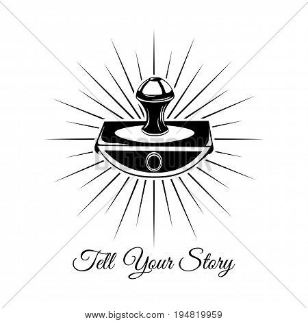 Write your story. Vintage Writer label. Old paperweight on a white background.