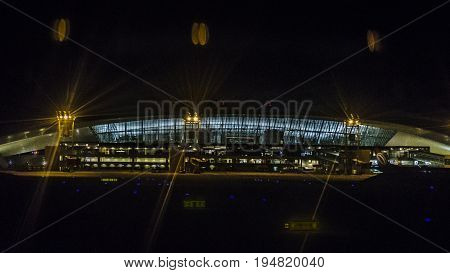 Night scene of facade exterior airport of Montevideo Uruguay
