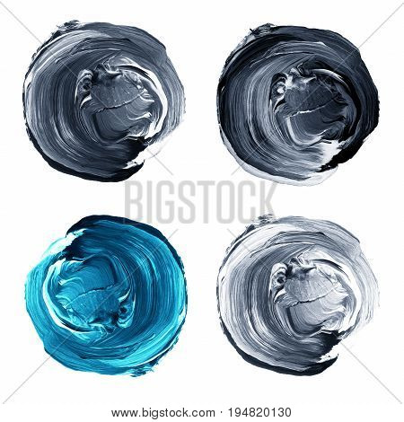 Set Of Colorful Textured Acrylic Circles Isolated On White.