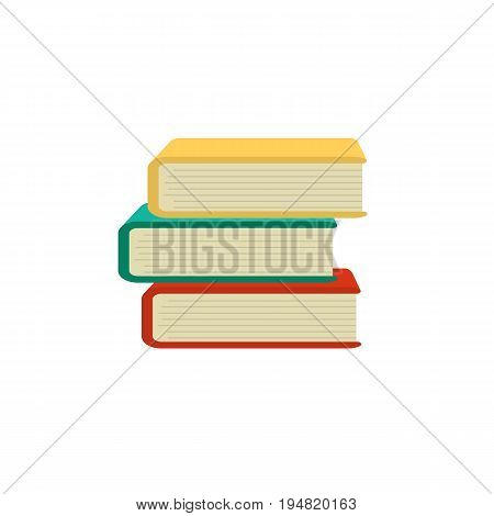 Stack of old books isolated on white education literature textbook study school knowledge vector illustration. Learning paper science university reading book.