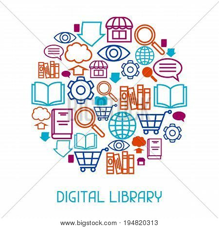 Digital library concept background. E-books, reading and downloading.