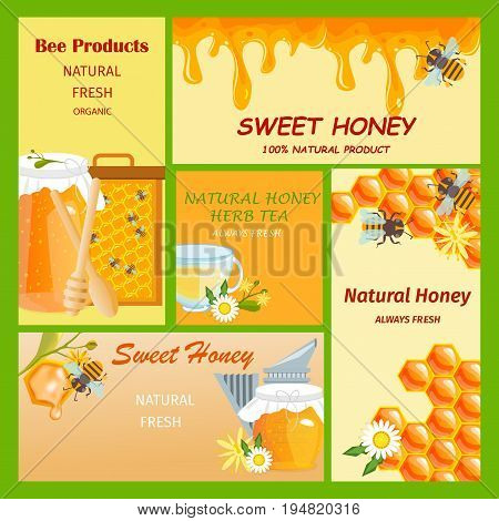 Honey horizontal vertical and square banners presenting sweet natural honey with bees hive and wax cells vector illustration. Sweet honey banner food natural organic design.