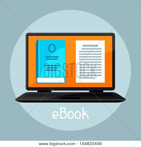 E-book concept. Laptop with book. Digital library online reading.