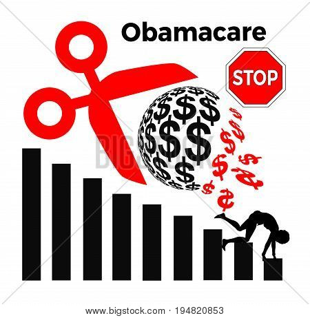 Stop cutting off funding for Obamacare. Concept sign to fight budget cuts of Medicaid, since many people will suffer