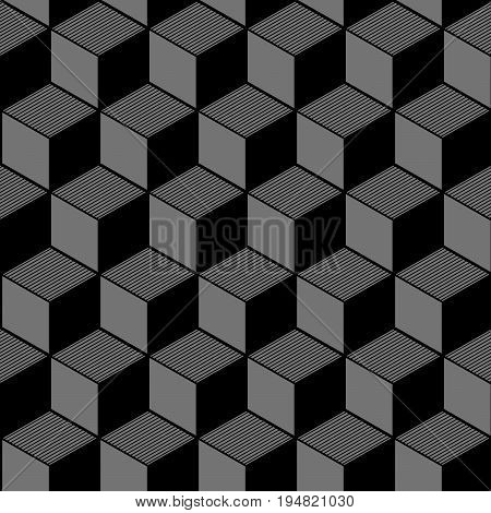 Antique Seamless Silver Background Cubic Line Geometry