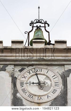 Clock tower and bell in Osor Croatia