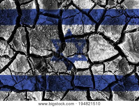 Israel flag painting on high detail cracked ground . 3D illustration .