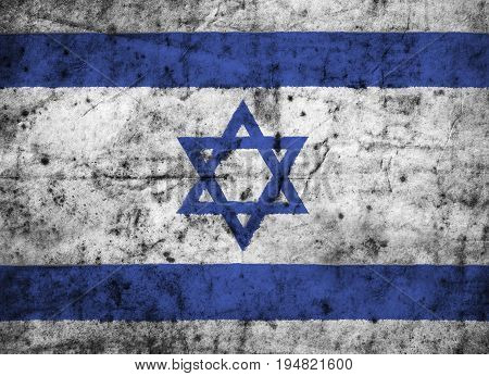 Israel flag with high detail of old dirty crumpled paper . 3D illustration .