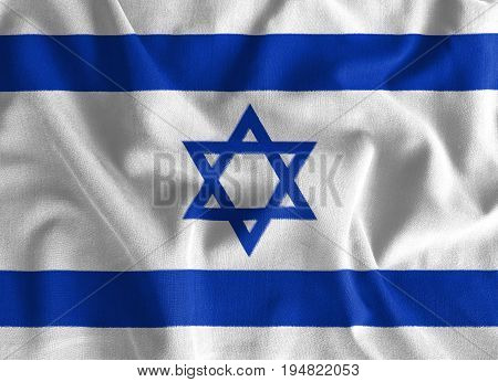 Israel flag painting on high detail of wave cotton fabrics . 3D illustration .