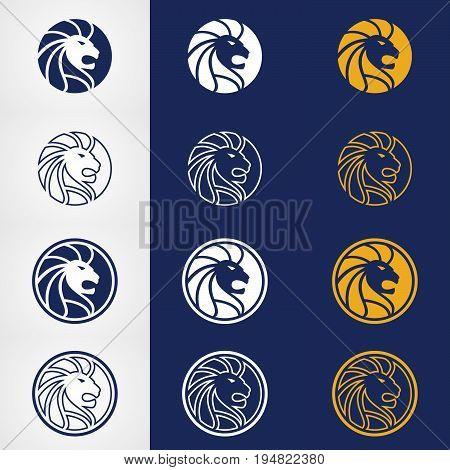 Abstract circle lion head logo design. Lions head logo design vector
