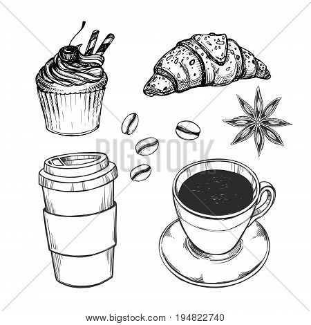 Hand Drawn Vector Illustration - Coffee Set (croissant, Cupcake, Coffee To Go And Cup Of Tea). Desig