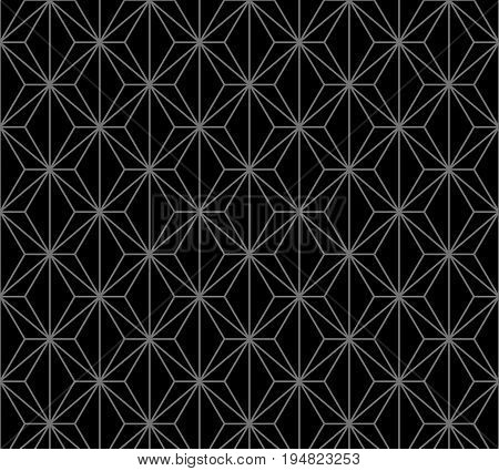 Antique Seamless Silver Background Polygon Cross Line