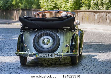 Lviv Ukraine - June 4 2017:Old retro car Wanderer W 23 taking participation in race Leopolis grand prix 2017 Ukraine.