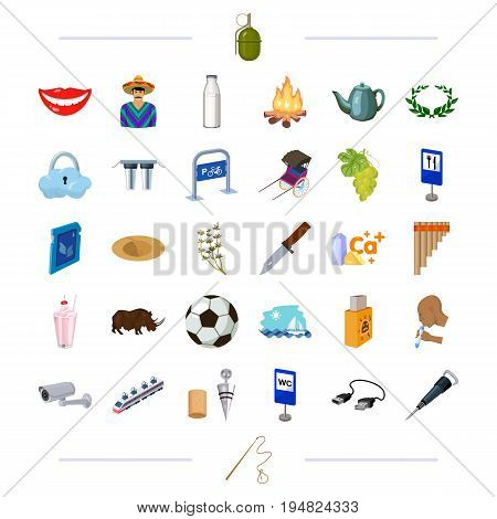 travel, computer, transportation and other  icon in cartoon style.sport, weapons, medicine icons in set collection.