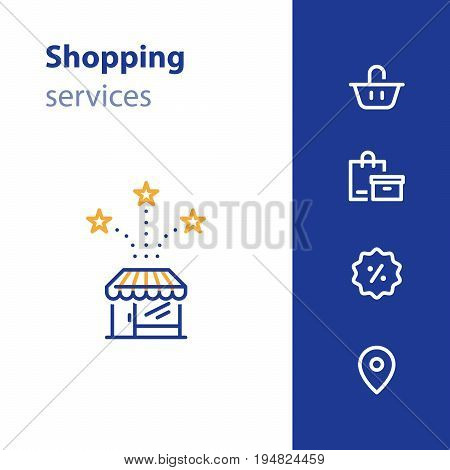 Shop services, store opening, basket and bags, promotion concept, location mark, vector line icon set