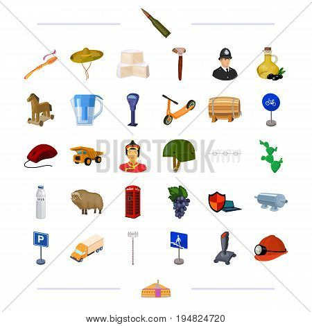 weapons, travel, transport and other  icon in cartoon style.national, medicine, technology icons in set collection.