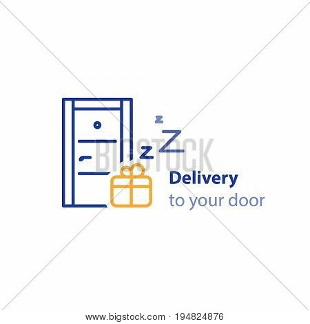 Fast shipping concept, delivery to your door, shipment services, vector line icon