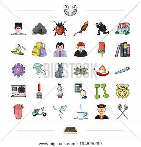 tourism, medicine, history and other  icon in cartoon style., sailor, sticks, sofa, icons in set collection.