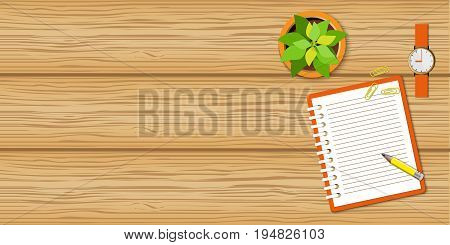 Flat concept of business morning breaktime coffee time. Top view the wood desktop with open spiral notebook wristwatch and flower. Wood mockup with empty space. EPS 10