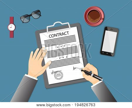 Businessman signing a contract. Flat concept of business financial agreement management marketing. Top view the workplace man hand holding a pen paper document with sign mobile phone coffee. EPS 10