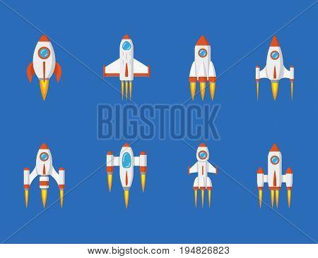 set of rocket icons, flat style illustration