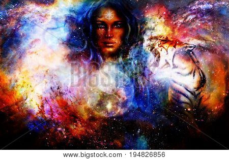 goddess woman and animals and symbol Yin Yang in cosmic space
