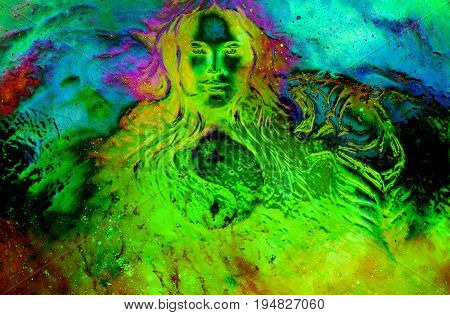 goddess woman and tiger and symbol Yin Yang in cosmic space. Glass effect