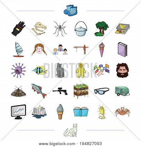 archeology, textiles, business and other  icon in cartoon style.education, travel, nature, icons in set collection.