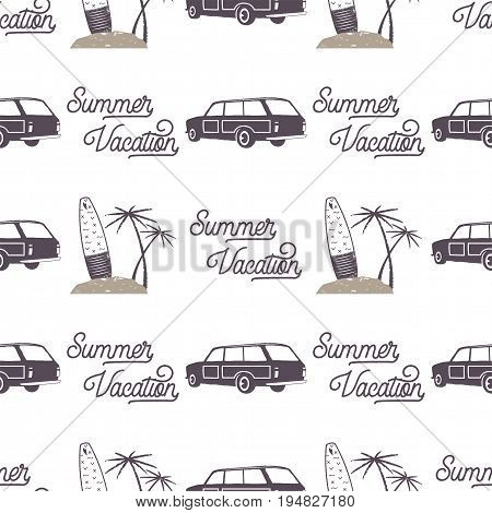 Surfing old style car pattern design. Summer seamless wallpaper with surfer van, surfboards, palms. Monochrome combi car. Vector illustration. Use for fabric printing, web projects, t-shirts