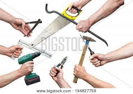 Hands of workers with tool kit on a white background